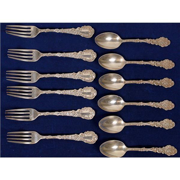 Gorham Sterling 1991 Versailles Pattern, Teaspoons (6), Dessert Forks (6)  [138356]