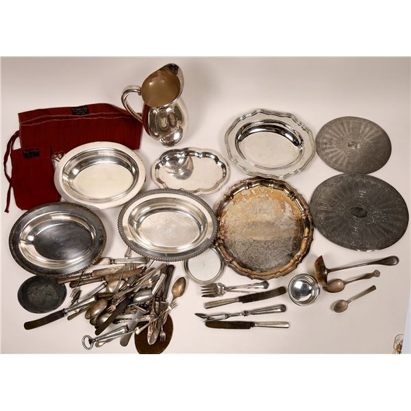 Silver Plate Group (7 pieces + flatware)  [139486]