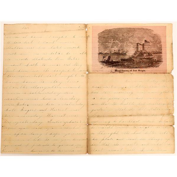 Civil War Illustrated Letter Sheet, c1862  [130554]