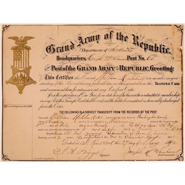 Grand Army of the Republic (GAR) Membership Certificate  [107767]
