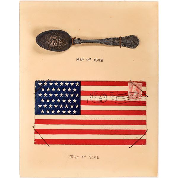 Admiral Dewey 1898 Souvenir Silver Spoon & Envelope  [139666]