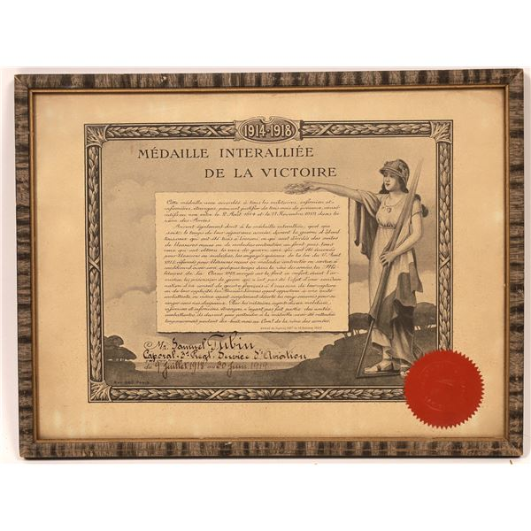 Certificate Awarded to French WWI Flyer  [120719]