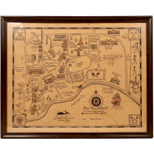 Culver Military Academy Hand Drawn Map  [139638]