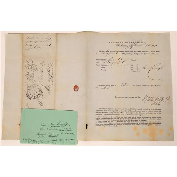 Henry M. Lazelle Notice of Demerits from West Point Signed by J.G. Totten Chief of Engineers  [13920