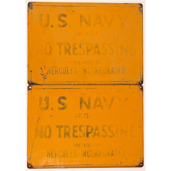 US Navy / Hercules NO TRESPASSING Signs (2)  [138178]