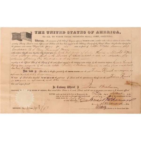 Land Grant Signed by Secretary for President Buchanan [125233]