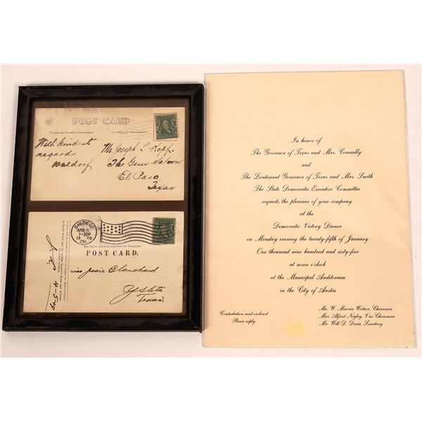 Texas Postcards & Gov. Connally 1965 Invite  [140501]