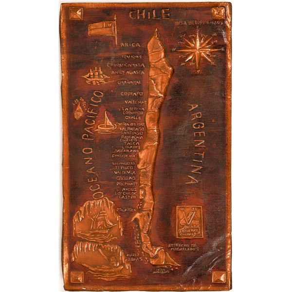 Copper Hammered Map of Chile  [139635]