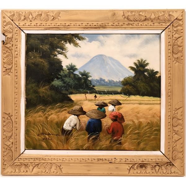 Bali Oil Painting Scene in Hand Carved Wooden Frame  [139632]