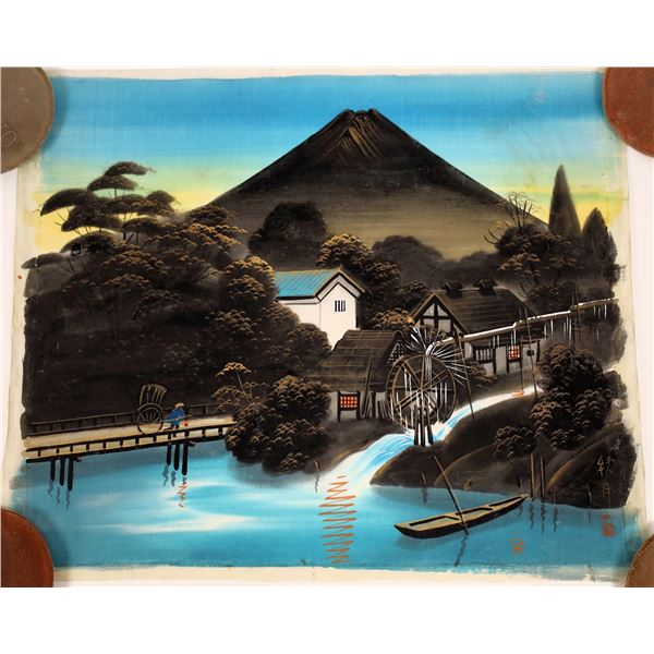 Two Signed Art Paintings on Silk from Japan  [137745]