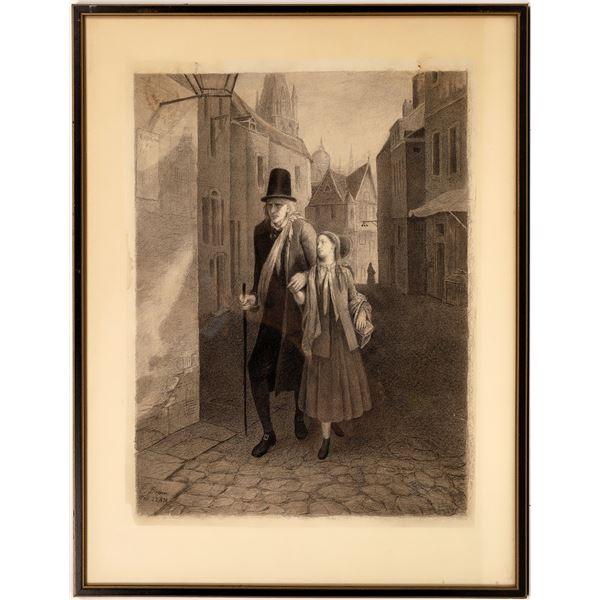 Original Charcoal Drawing Man and a Girl  [139631]