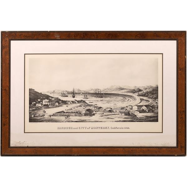 Harbour and City of Monterey, California 1842 Lithograph  [139647]