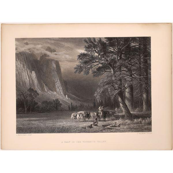 Rare Yosemite Bierstadt Art Print Engraving   [139662]