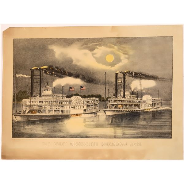 Currier & Ives Mississippi Steamboat Race Print  [128097]