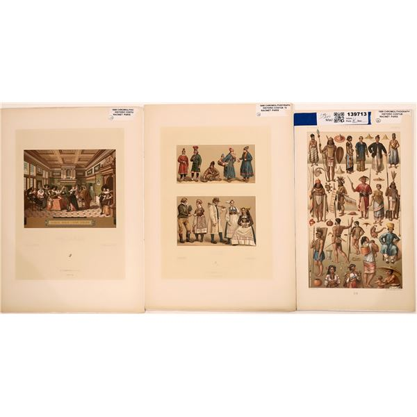 1888 Chromolithographic Prints of Historic Costumes by Albert Racinet of Paris  [139713]
