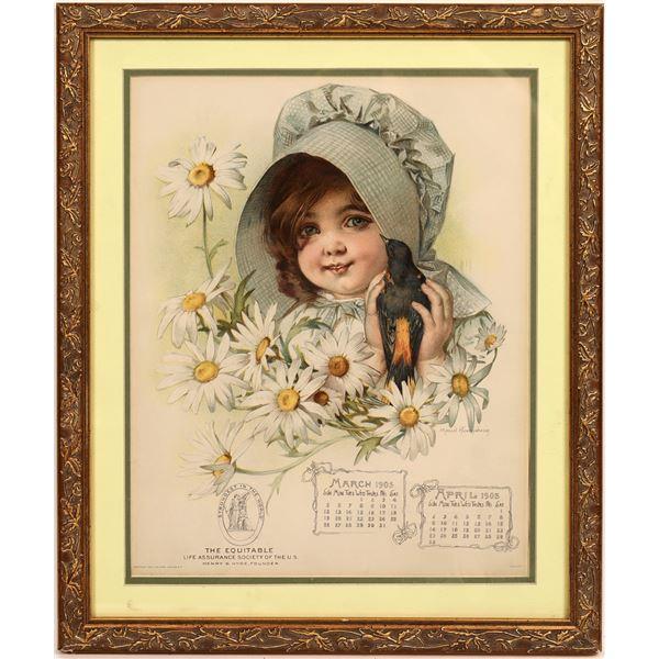 Darling Baby Girl in Bonnet Advertising Calendar by Maud Humphrey  [139642]