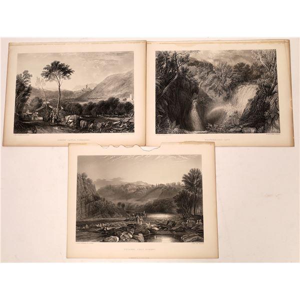 J.M.W. Turner Landscape Art Print Engravings (3)  [139661]