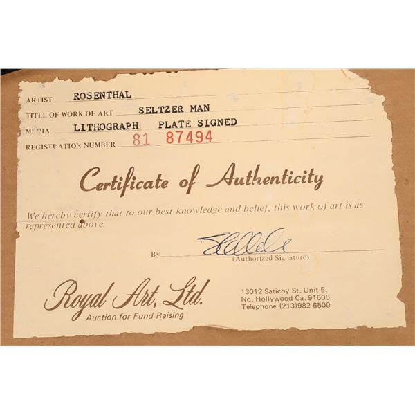 "Seymour Rosenthal Signed Lithograph, ""Seltzer Man""  [140745]"
