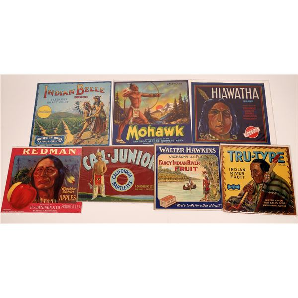 Fruit Crate Labels Featuring Native Americans (7 Labels)  [140736]