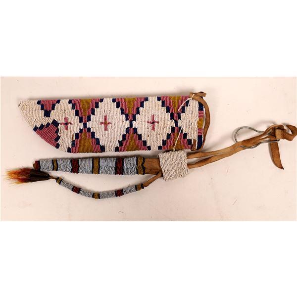 Cheyenne Beaded Knife Sheath and Other Bag  [141121]