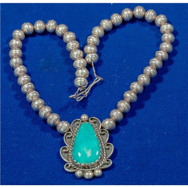 Turquoise Cabochon Necklace  [140330]