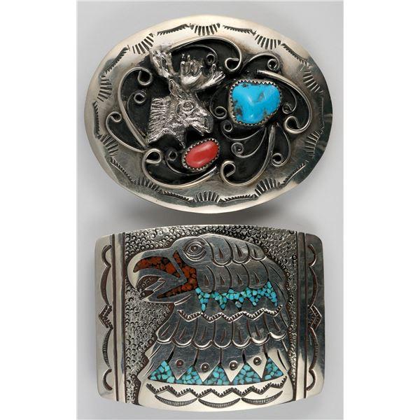 Navajo Sterling Silver Belt Buckles - 2, Moose and Eagle  [138335]