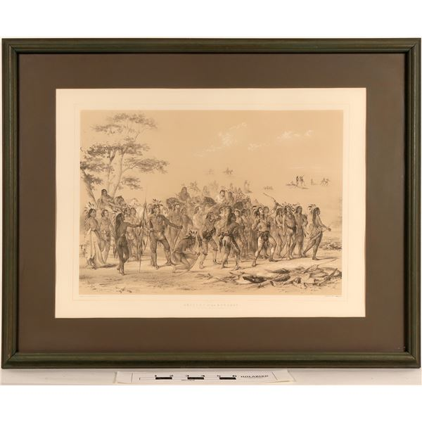 Geo. Catlin's Archery of the Mandans - Framed Litho Reproduction  [125090]