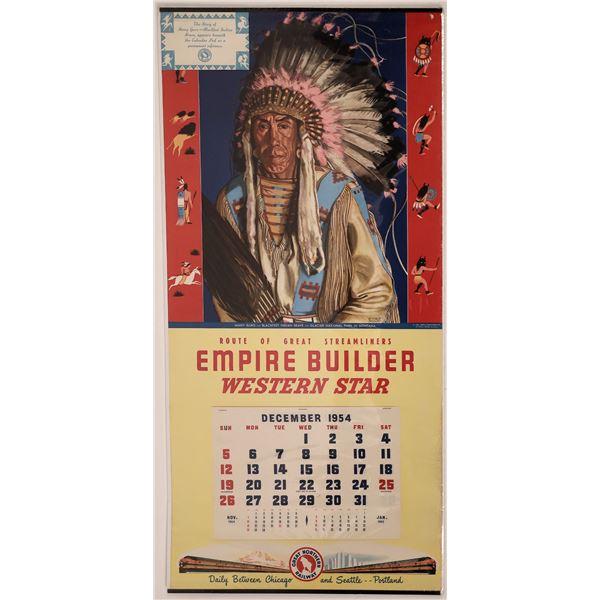 Great Northern Railway Calendar with Many Guns Blackfeet Indian of 1954  [138438]