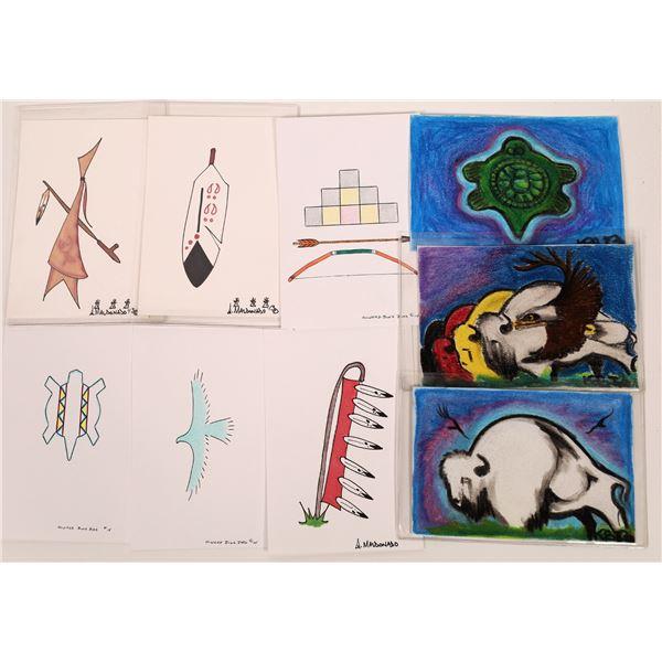Original Native American Lakota Art Cards (9 cards)  [140738]