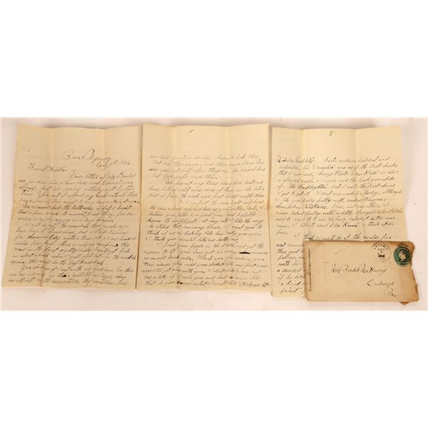 1892 Letter Referencing Wounded Knee  [140007]