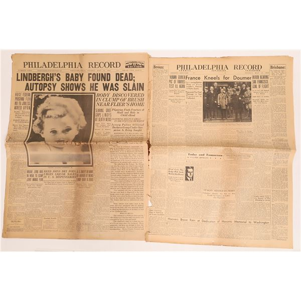 Lindbergh's Baby Found Dead cover story in the Philadelphia Record May 13, 1932  [140015]
