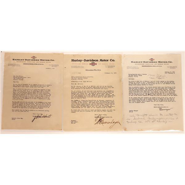 Harley Davison Letters with Interesting information on Letterhead  [130547]