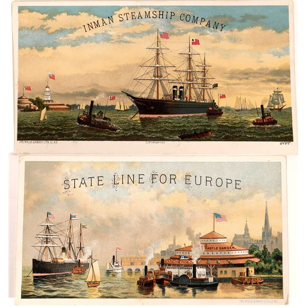 Colorful Trade Card Ads for Steamship Lines (2)  [138137]
