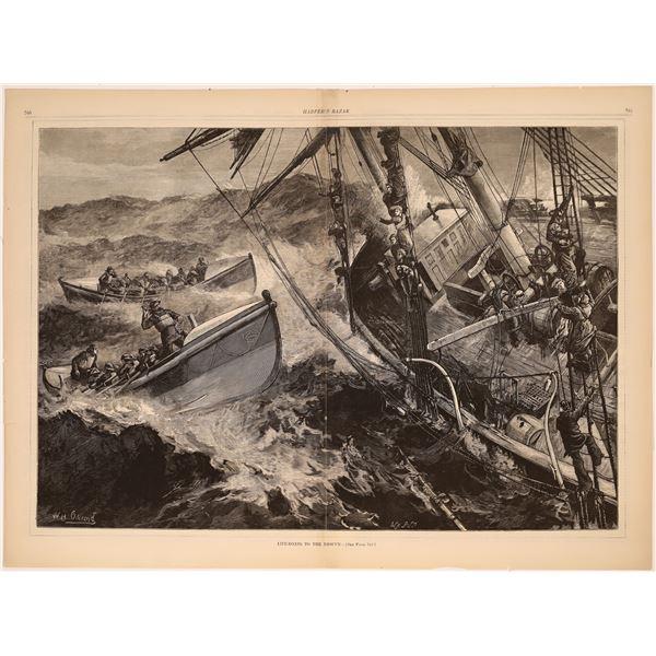Harper's Weekly - Sea Rescue Woodcut Prints   [139465]