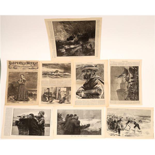 "19th Century ""Harper's Weekly"" Woodcut Prints of Maritime Disasters (7)  [139783]"