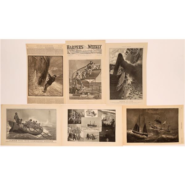 19th Century News Publications with Woodcut Drawings (6)  [139782]