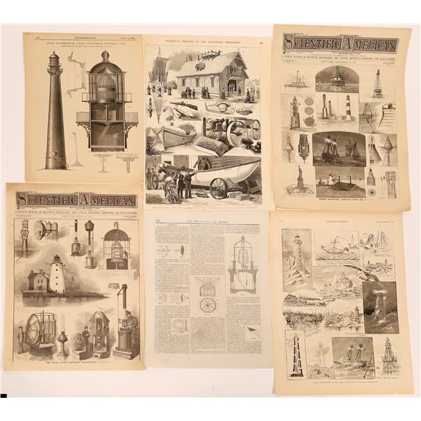19th Century News Publications, Woodcut Prints for Lighthouses, Lightships & Lifesaving Stations (6)