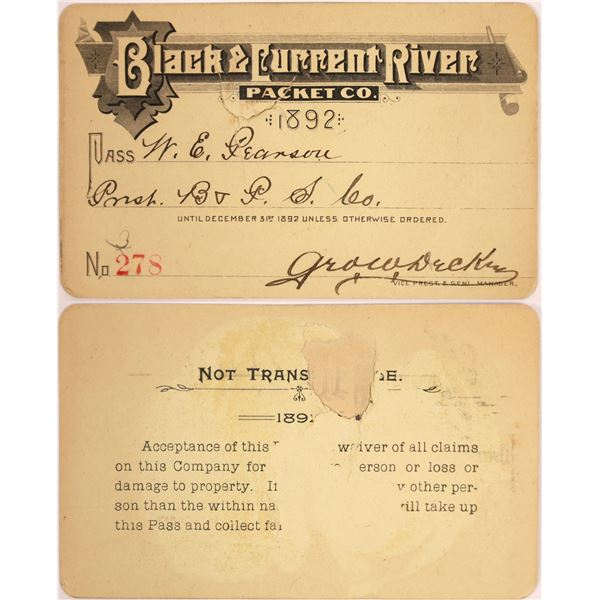 Black & Current River Packet Company Pass, 1892  [130503]