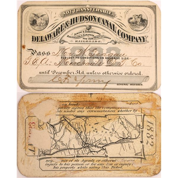 Delaware & Hudson Canal Company Pass, 1882  [130509]