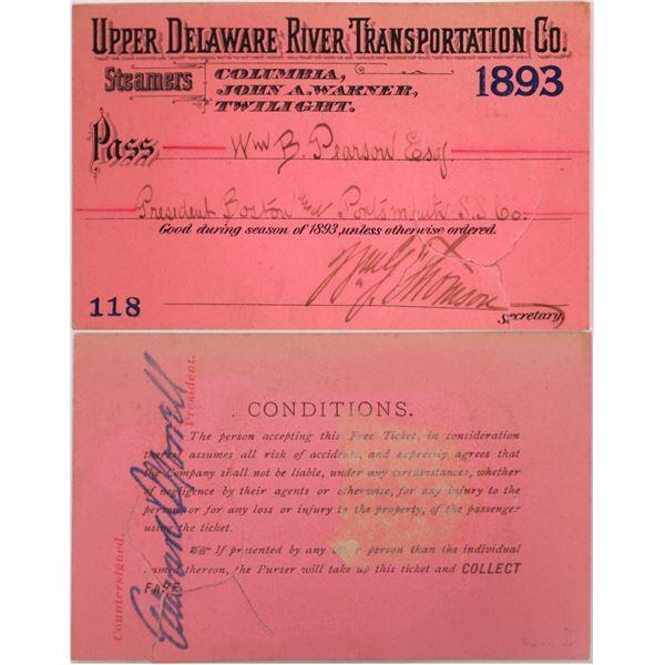 Upper Delaware River Transportation Co. Pass, 1893  [130511]