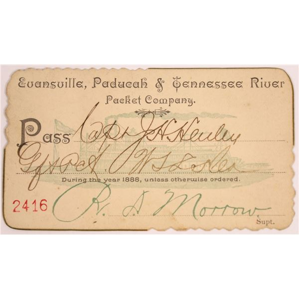 Evansville, Paducah & Tennessee River Packet Company Pass, 1888  [130510]