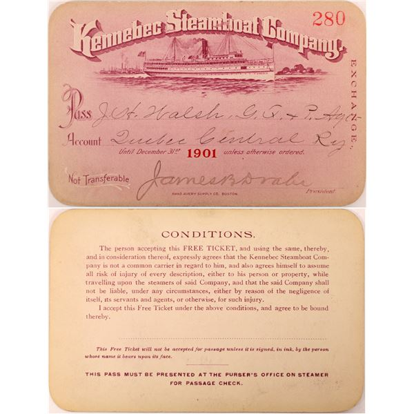 Kennebec Steamboat Company Pass, 1901  [130513]