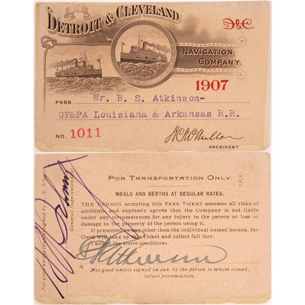 Detroit & Cleveland Company Pass, 1907.  [130507]