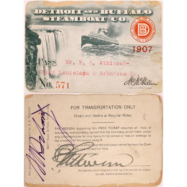 Detroit and Buffalo Steamboat Company Pass, 1907 with great vignette  [130499]