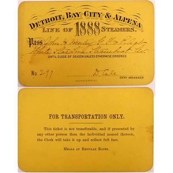 Detroit, Bay City & Alpena Steamer Pass, 1888  [130512]