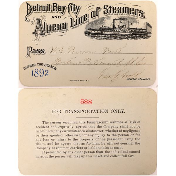 Detroit, Bay City and Alpena Line of Steamers Pass, 1892  [130515]