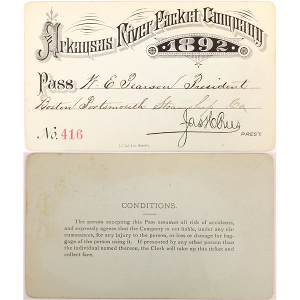 Arkansas River Packet Company Pass, 1892.  [130514]