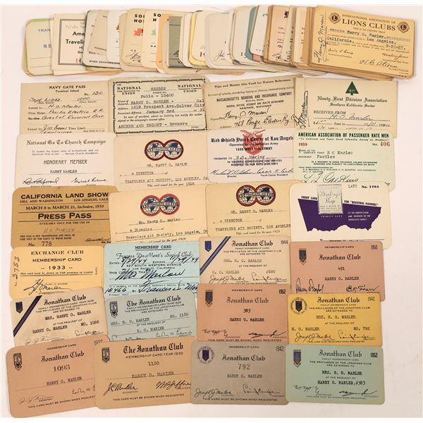 140 Passes from So. Cal. for H. O. Marler of the Pacific Electric Company  [130335]