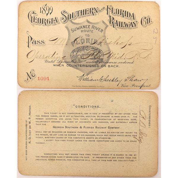 Georgia Southern and Florida Railway Company Pass, 1899  [130521]