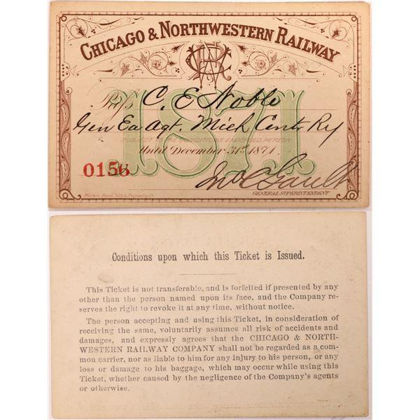 Chicago & Northwestern Railway Pass, 1871  [130520]